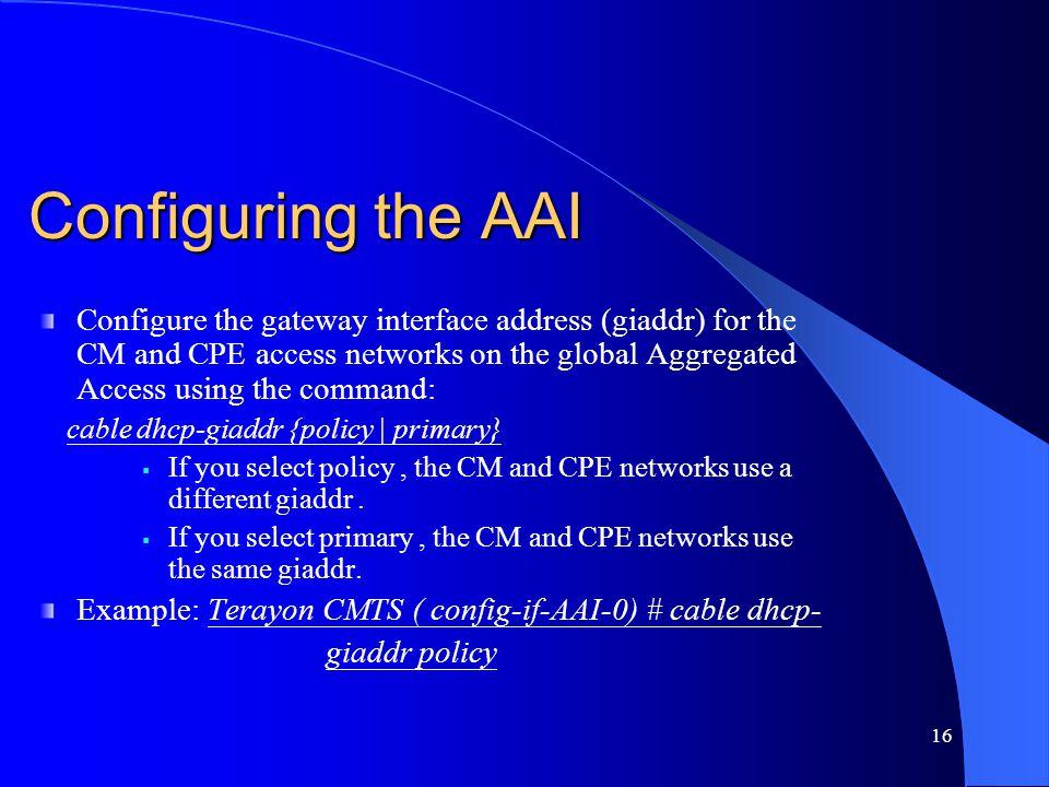 Configuring the AAI