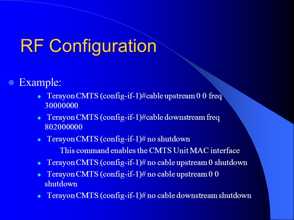 RF Configuration Example: