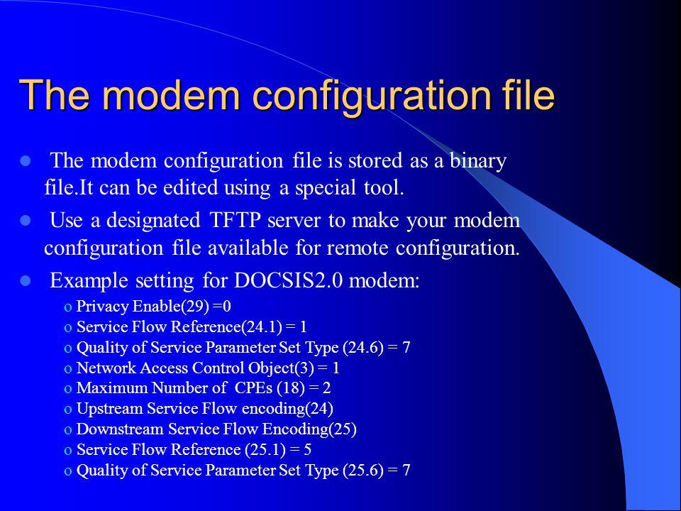 The modem configuration file