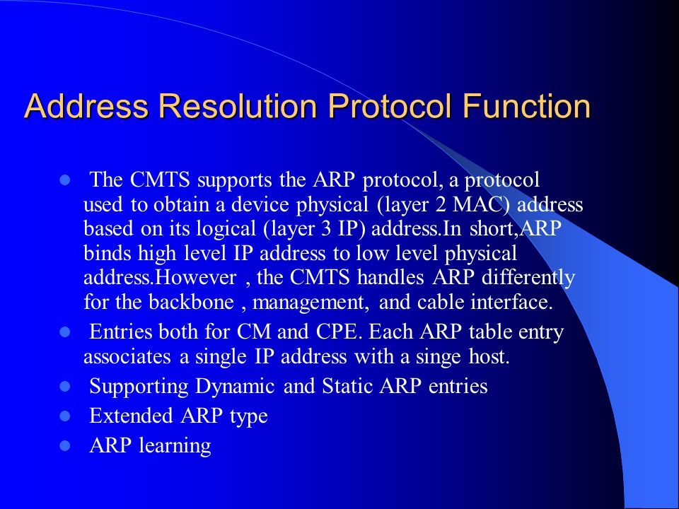 Address Resolution Protocol Function