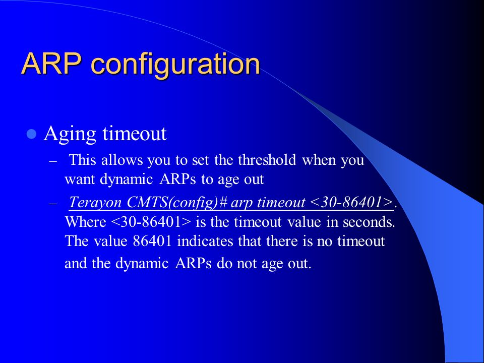 ARP configuration Aging timeout