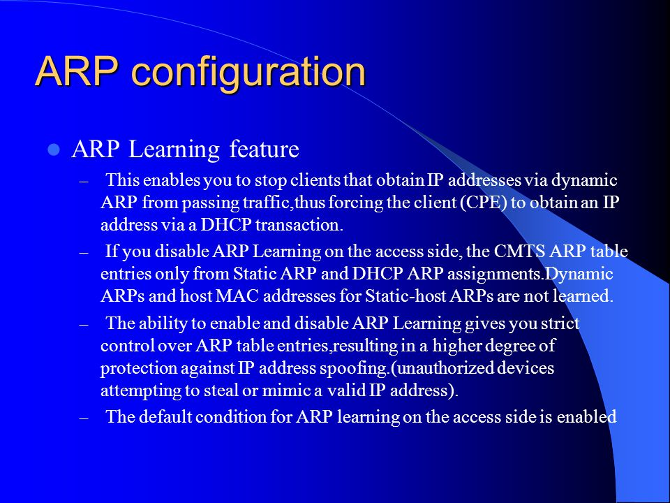 ARP configuration ARP Learning feature