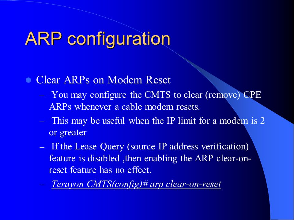 ARP configuration Clear ARPs on Modem Reset