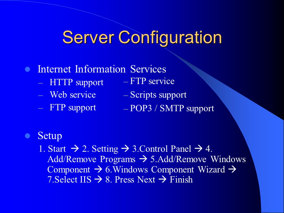 Server Configuration Internet Information Services Setup HTTP support
