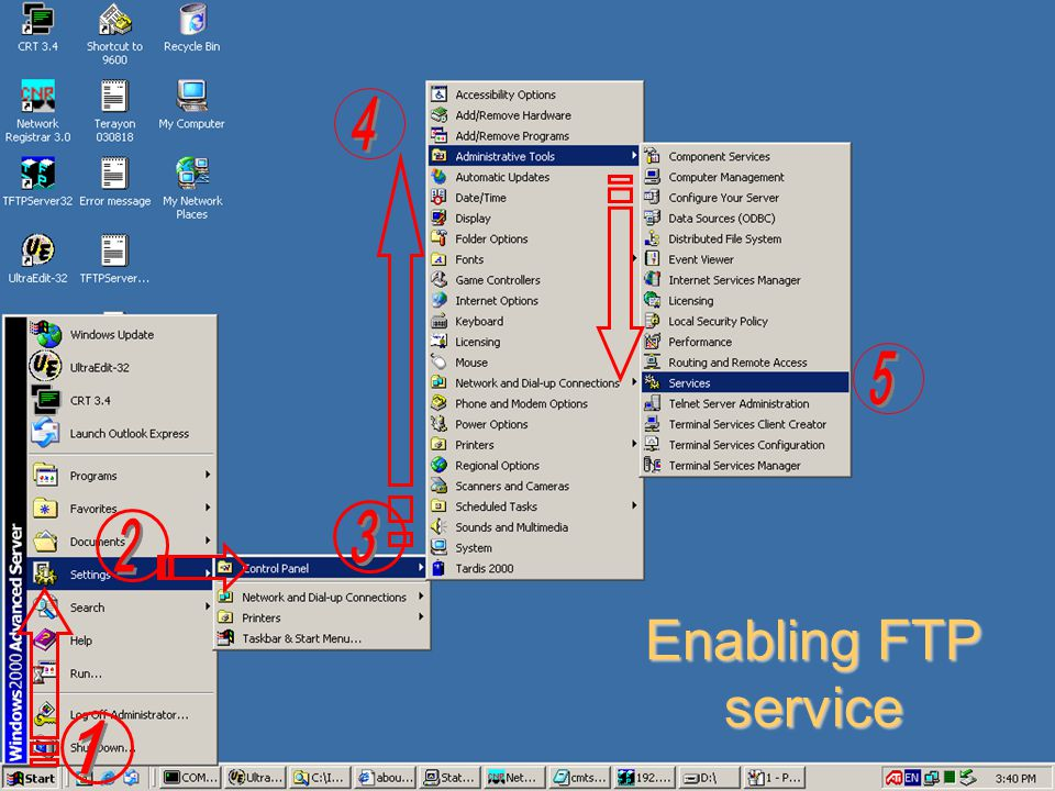 4 5 3 2 Enabling FTP service 1