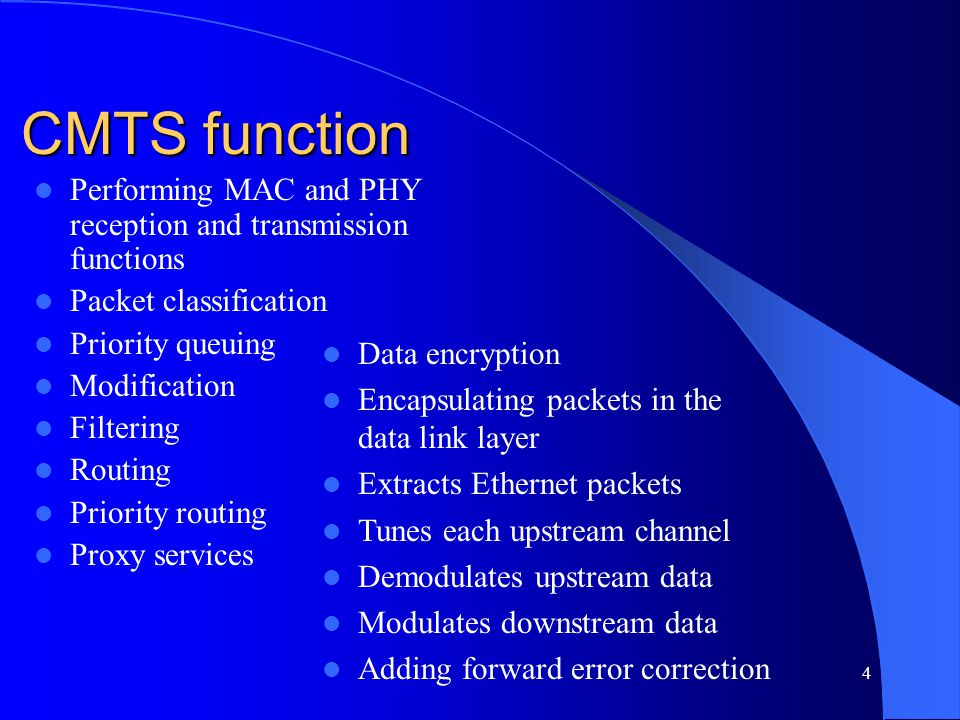 CMTS function Performing MAC and PHY reception and transmission functions. Packet classification. Priority queuing.