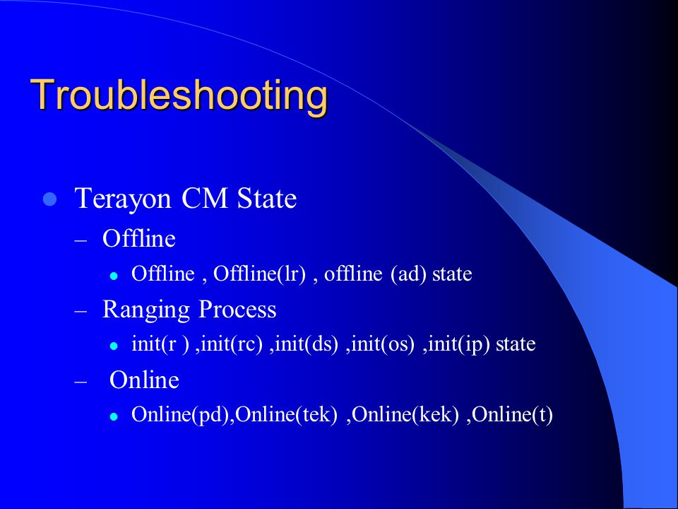 Troubleshooting Terayon CM State Offline Ranging Process Online