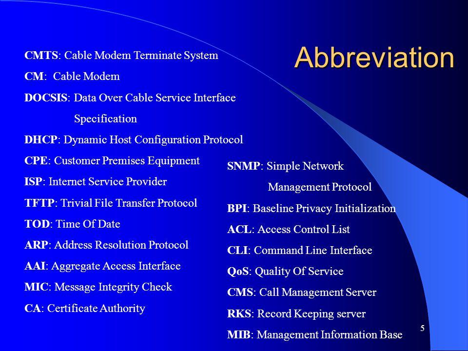 Abbreviation CMTS: Cable Modem Terminate System CM: Cable Modem