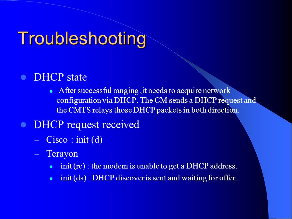 Troubleshooting DHCP state DHCP request received Cisco : init (d)