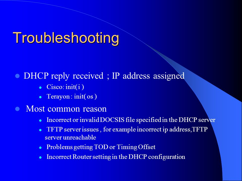 Troubleshooting DHCP reply received ; IP address assigned