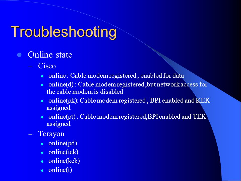 Troubleshooting Online state Cisco Terayon