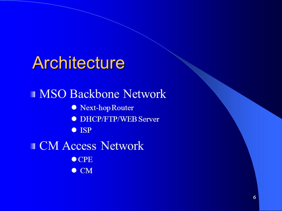Architecture MSO Backbone Network CM Access Network Next-hop Router