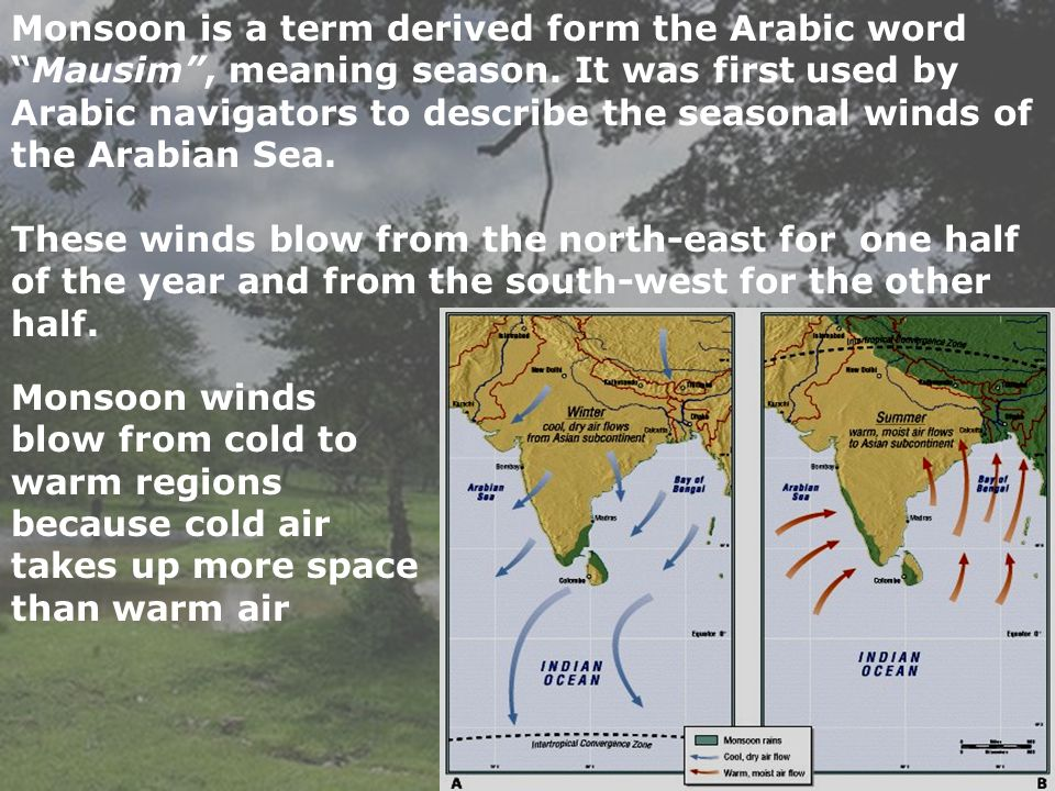 Monsoon is a term derived form the Arabic word Mausim , meaning season. It was first used by Arabic navigators to describe the seasonal winds of the Arabian Sea.