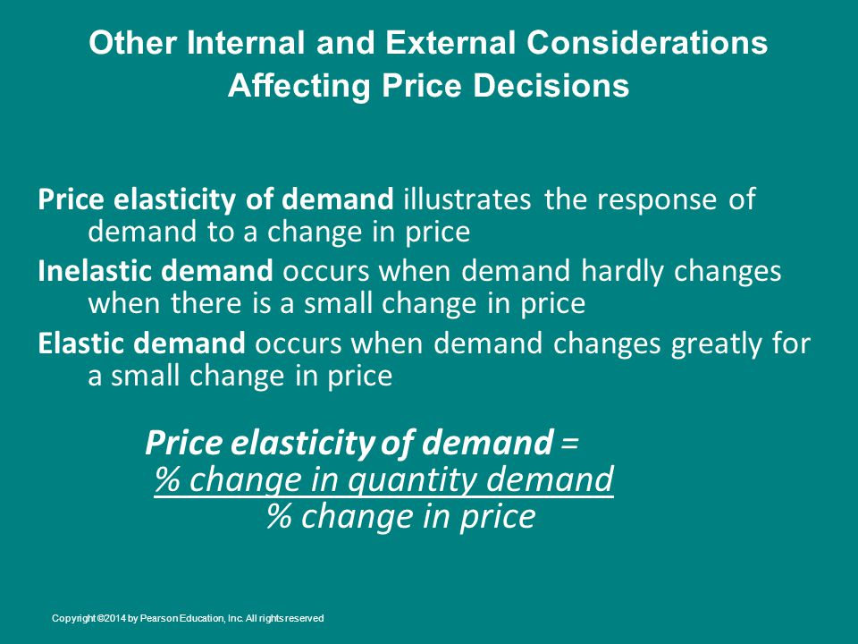 Other Internal and External Considerations Affecting Price Decisions
