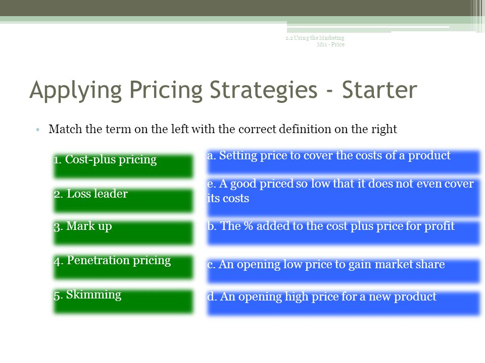 Applying Pricing Strategies - Starter