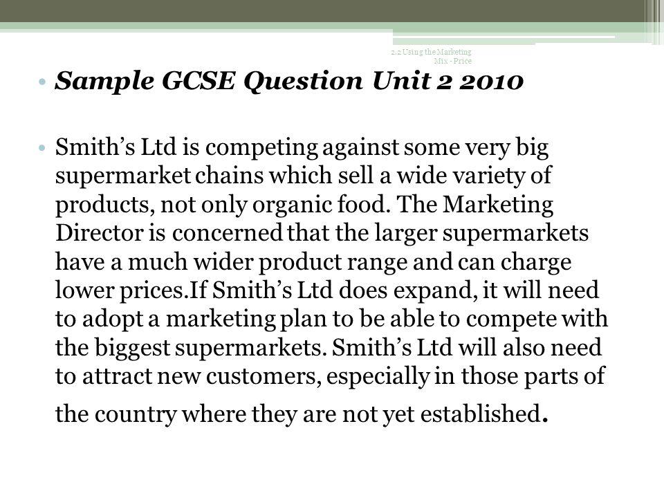 Sample GCSE Question Unit 2 2010