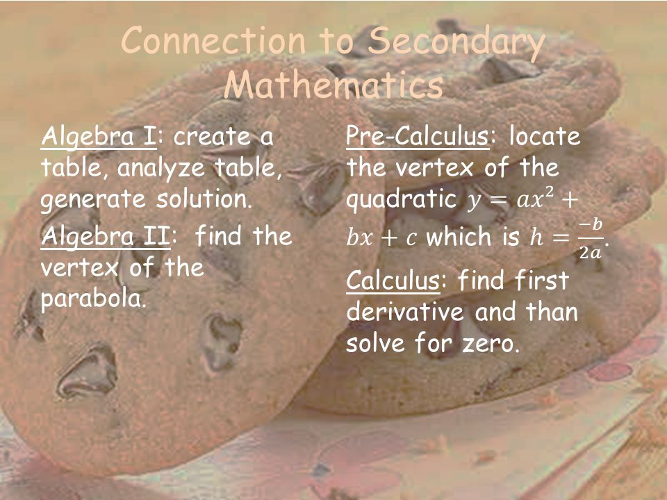 Connection to Secondary Mathematics