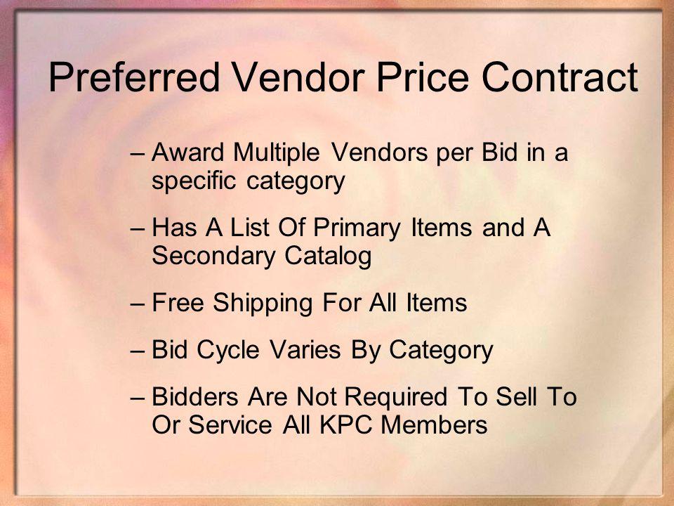 Preferred Vendor Price Contract