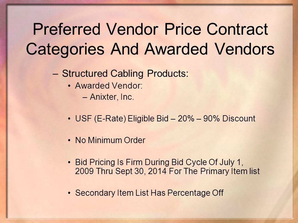 Preferred Vendor Price Contract Categories And Awarded Vendors