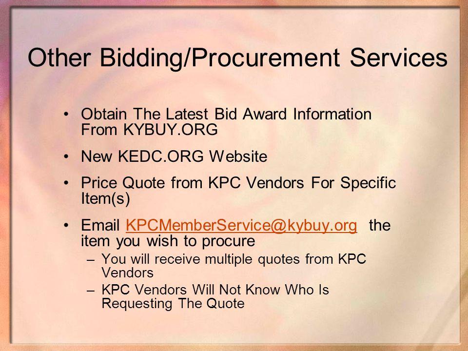 Other Bidding/Procurement Services