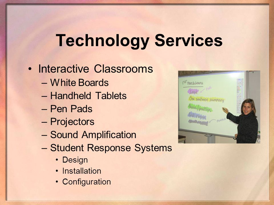 Technology Services Interactive Classrooms White Boards