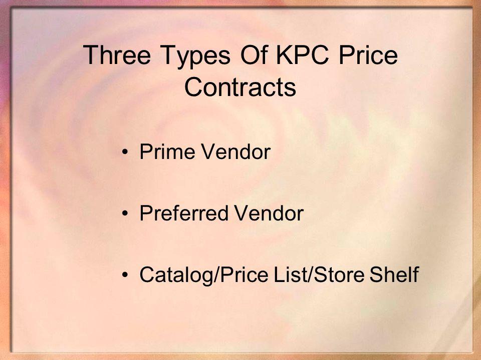 Three Types Of KPC Price Contracts