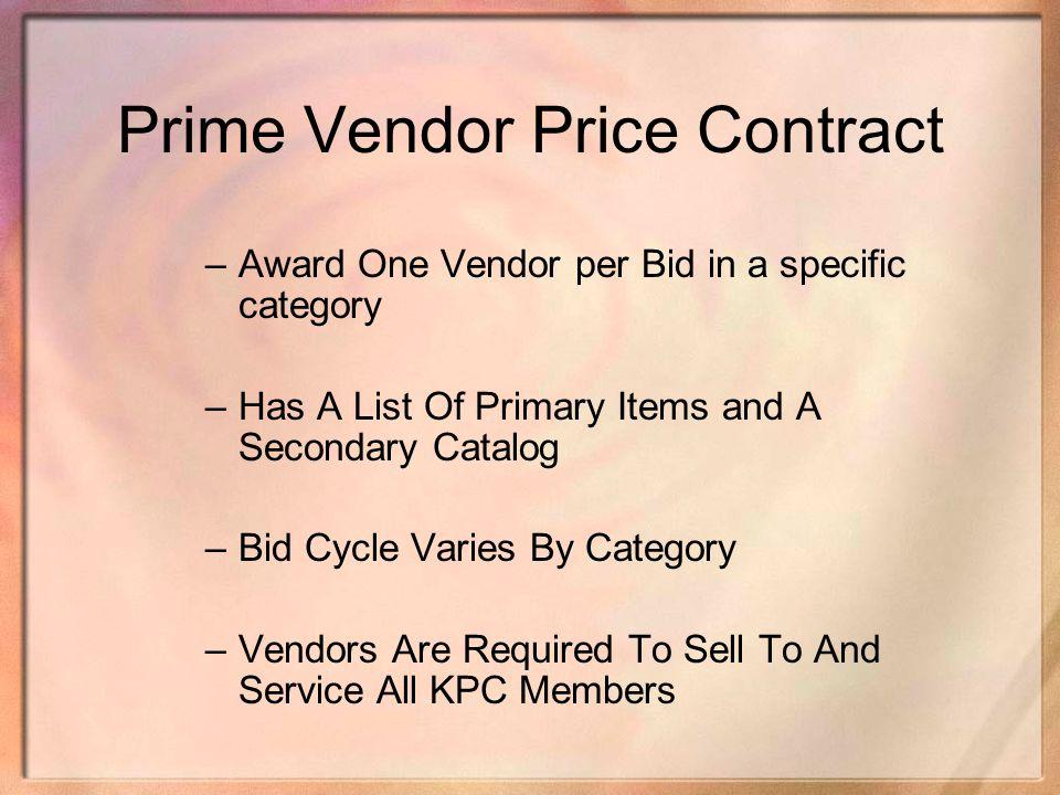 Prime Vendor Price Contract