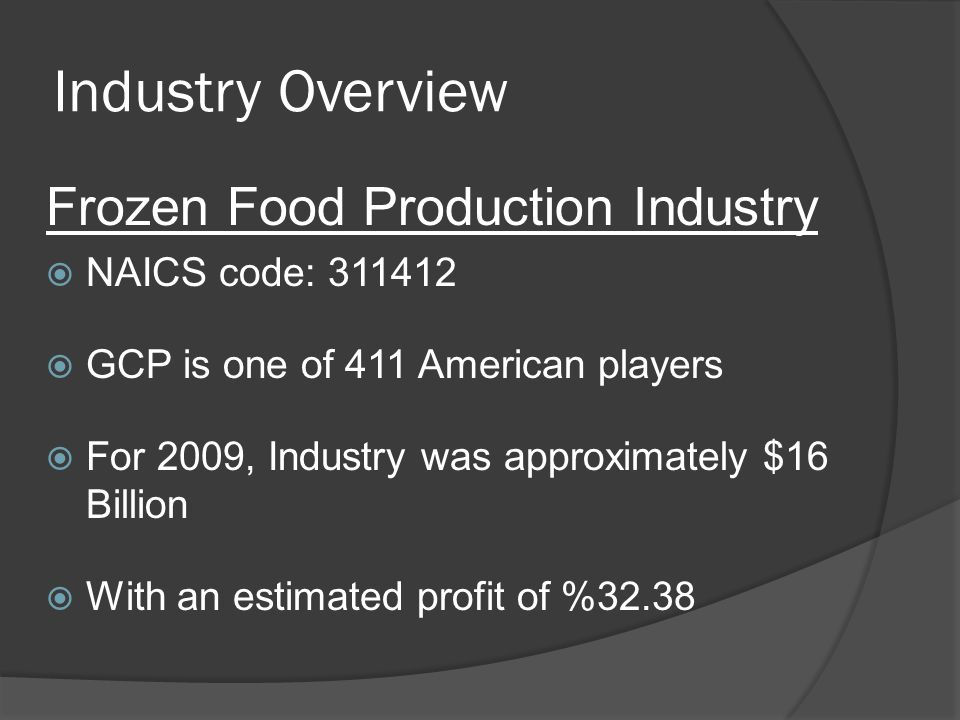 Industry Overview Frozen Food Production Industry NAICS code: 311412