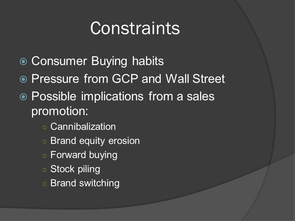 Constraints Consumer Buying habits Pressure from GCP and Wall Street