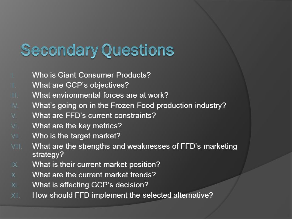 Secondary Questions Who is Giant Consumer Products