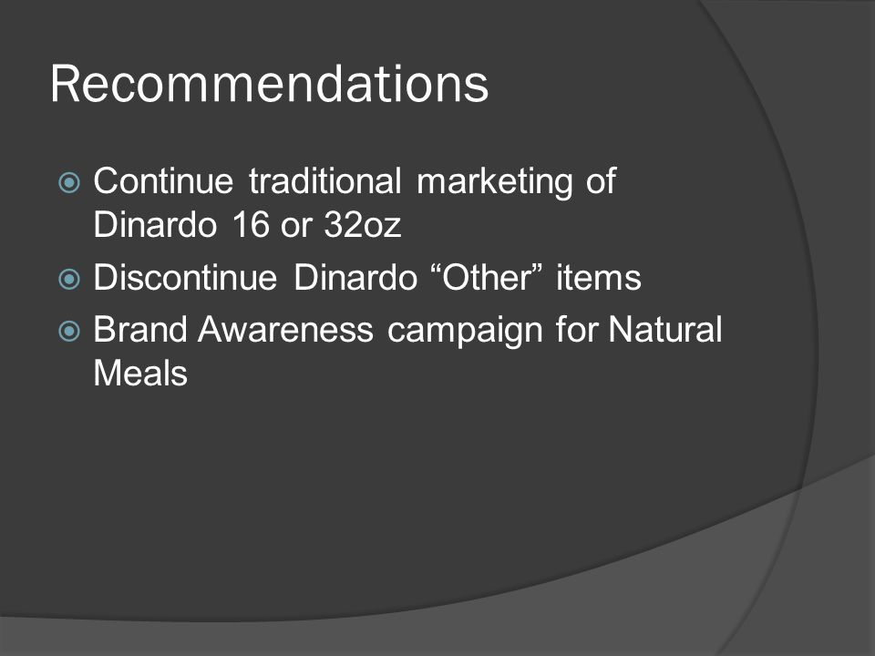 Recommendations Continue traditional marketing of Dinardo 16 or 32oz