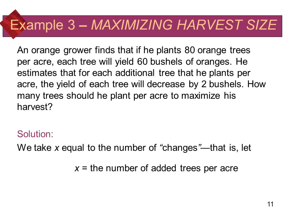 Example 3 – MAXIMIZING HARVEST SIZE
