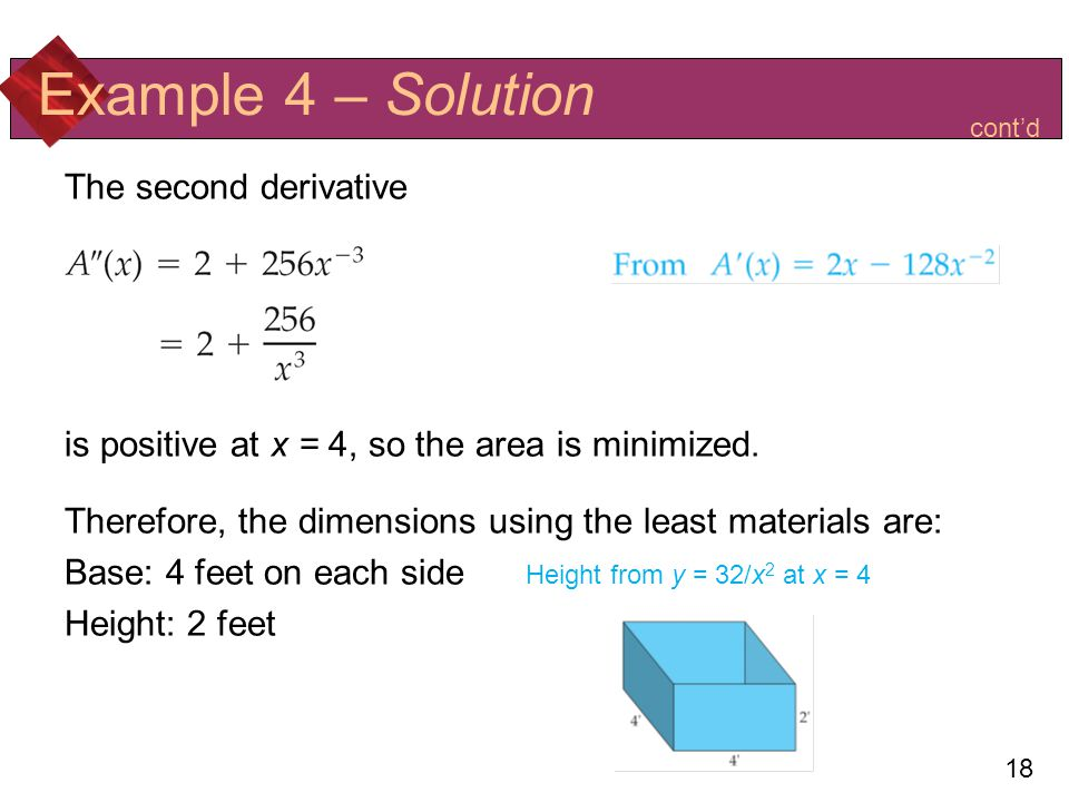 Example 4 – Solution The second derivative