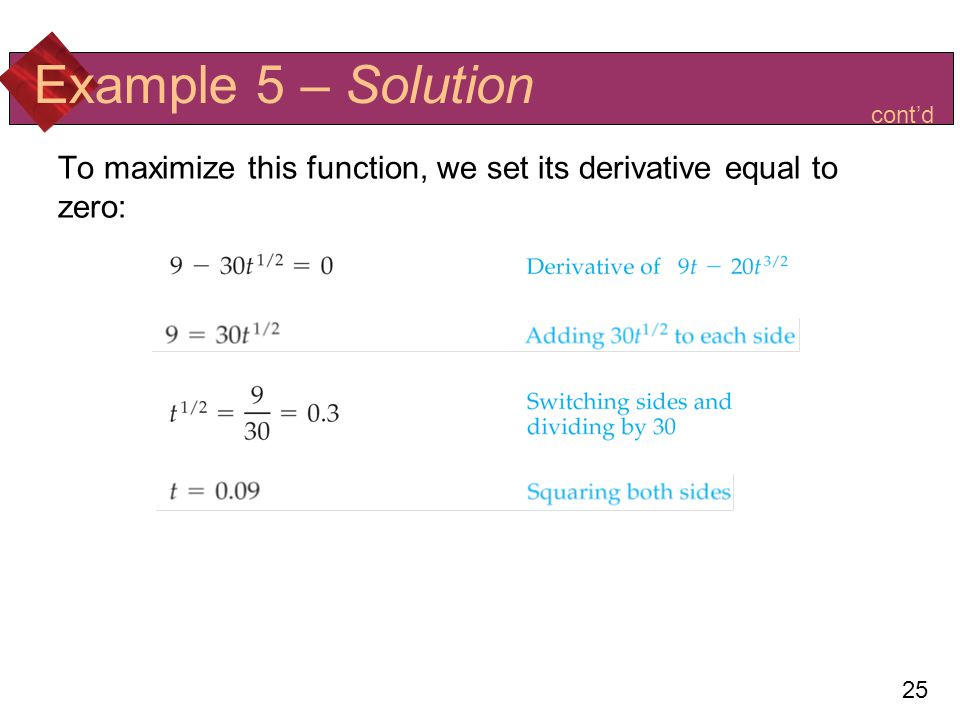 Example 5 – Solution cont'd To maximize this function, we set its derivative equal to zero: