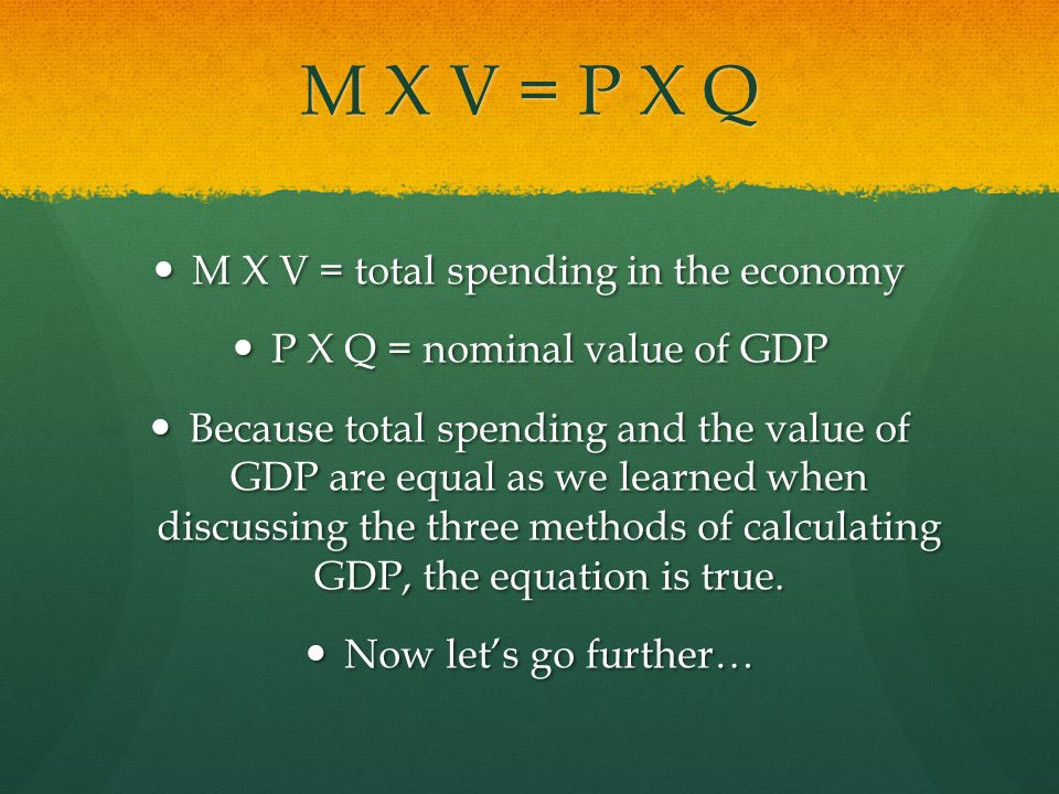 M X V = P X Q M X V = total spending in the economy