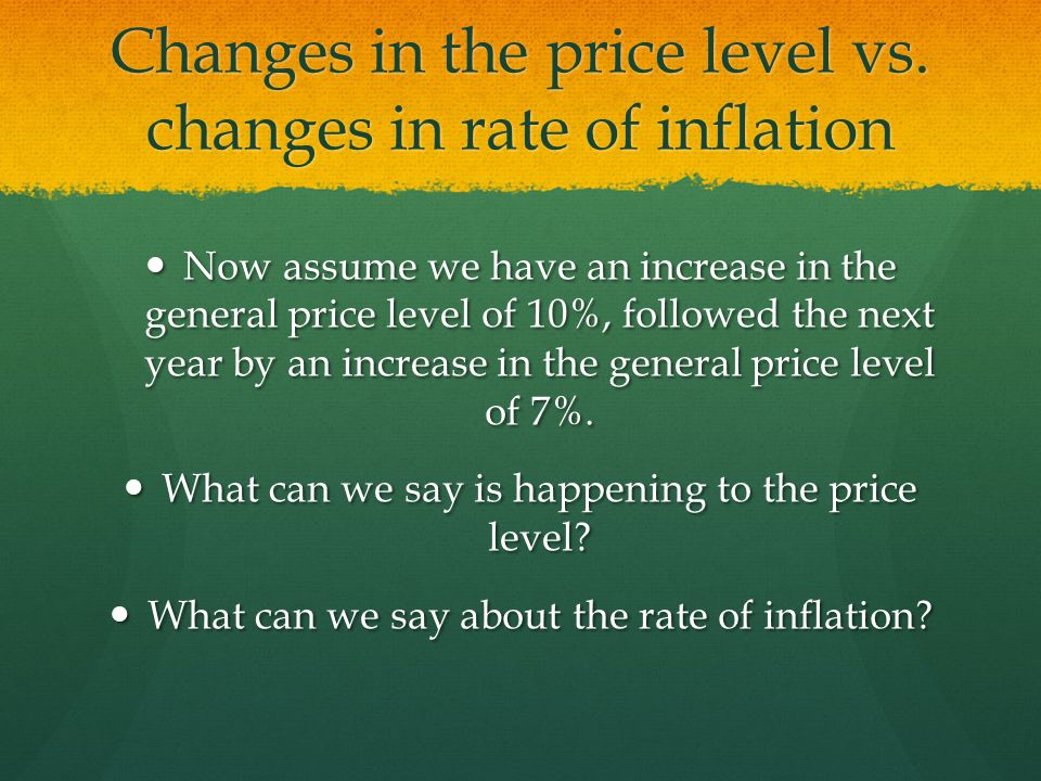 Changes in the price level vs. changes in rate of inflation