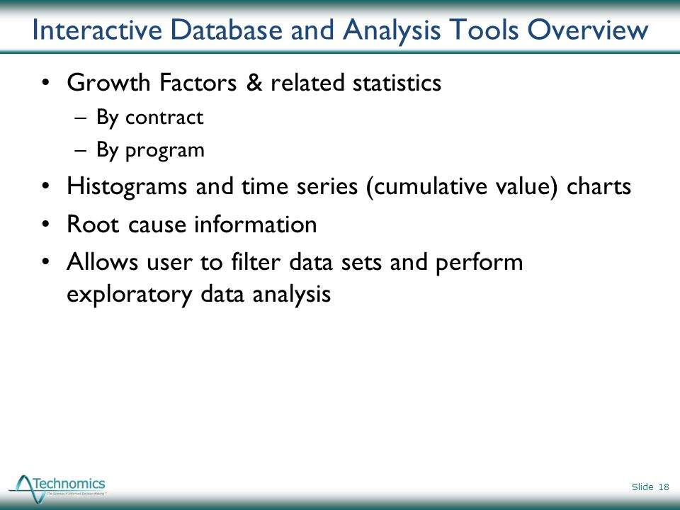 Interactive Database and Analysis Tools Overview