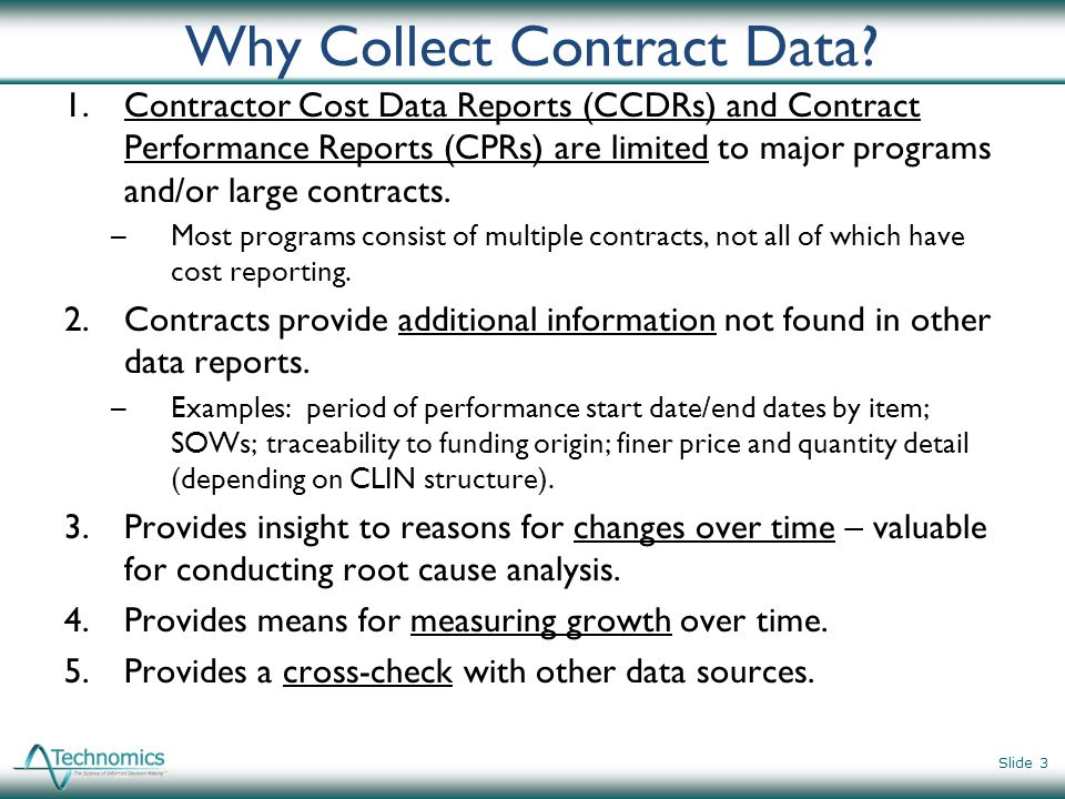 Why Collect Contract Data