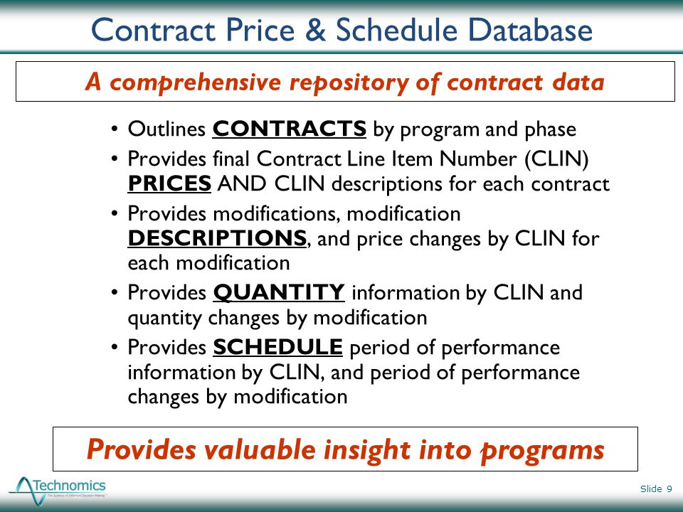 Contract Price & Schedule Database