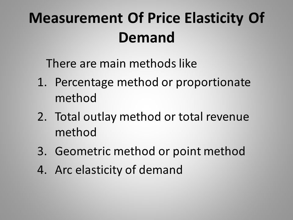 Measurement Of Price Elasticity Of Demand