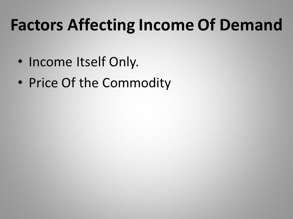 Factors Affecting Income Of Demand