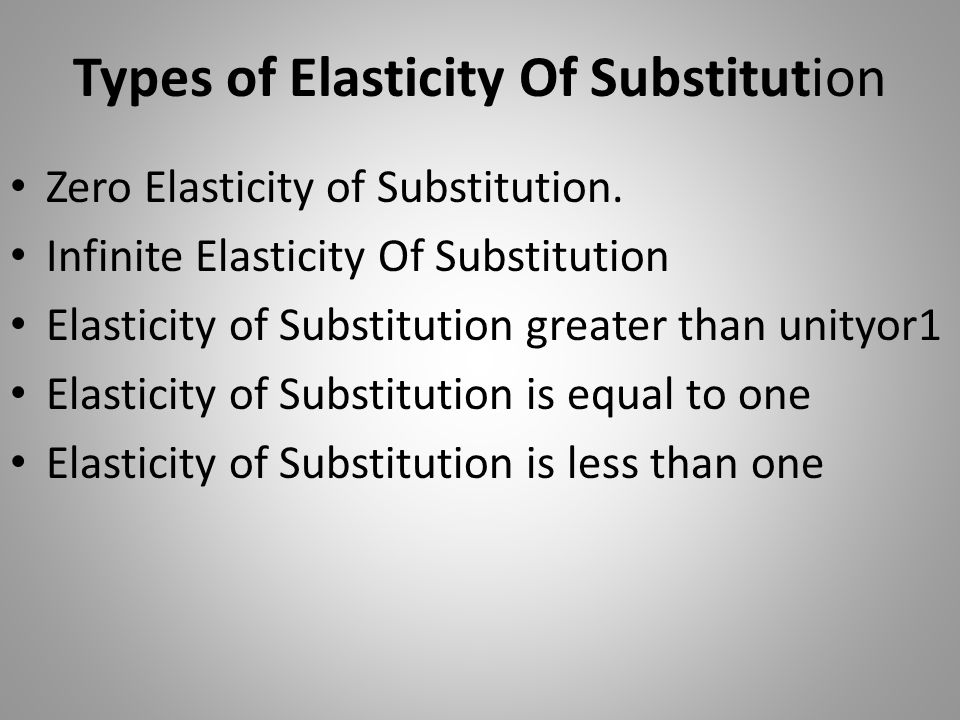 Types of Elasticity Of Substitution