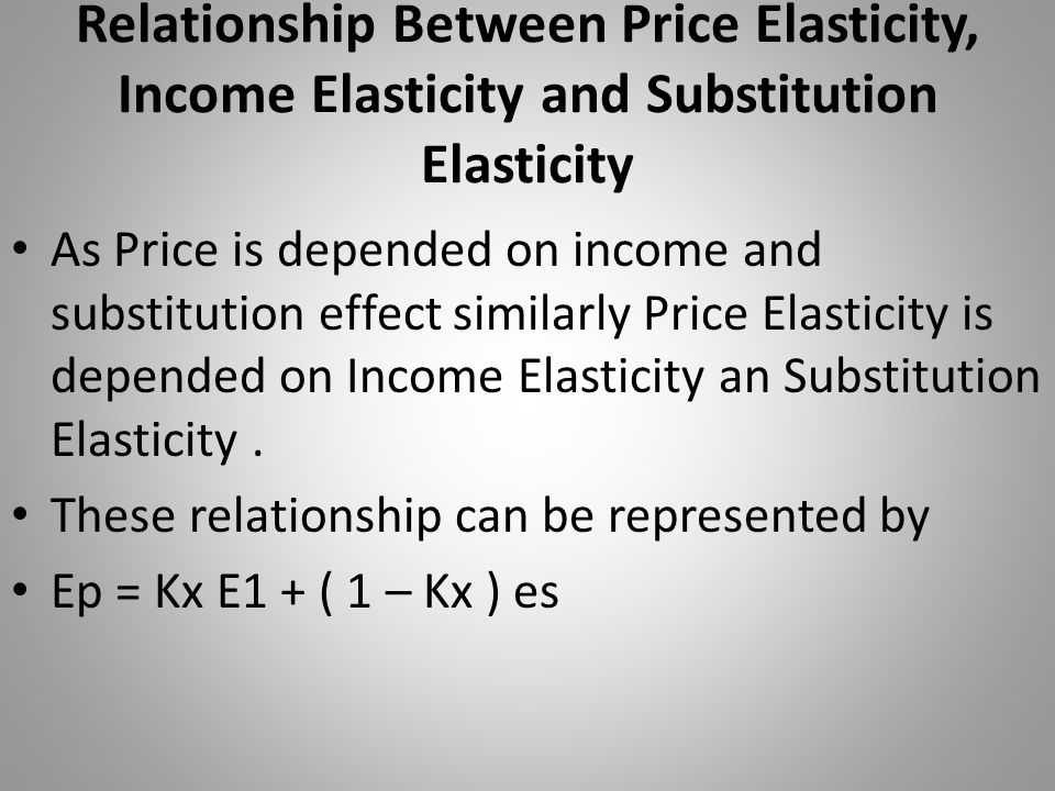 Relationship Between Price Elasticity, Income Elasticity and Substitution Elasticity