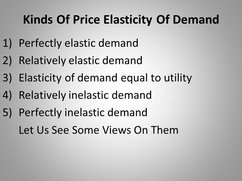 Kinds Of Price Elasticity Of Demand