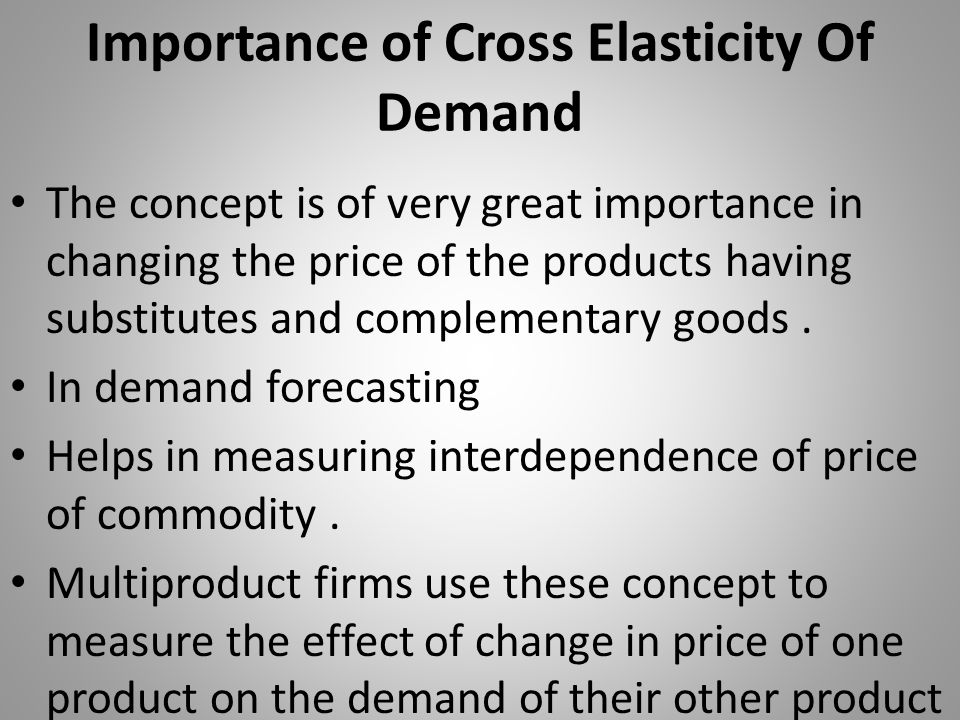Importance of Cross Elasticity Of Demand