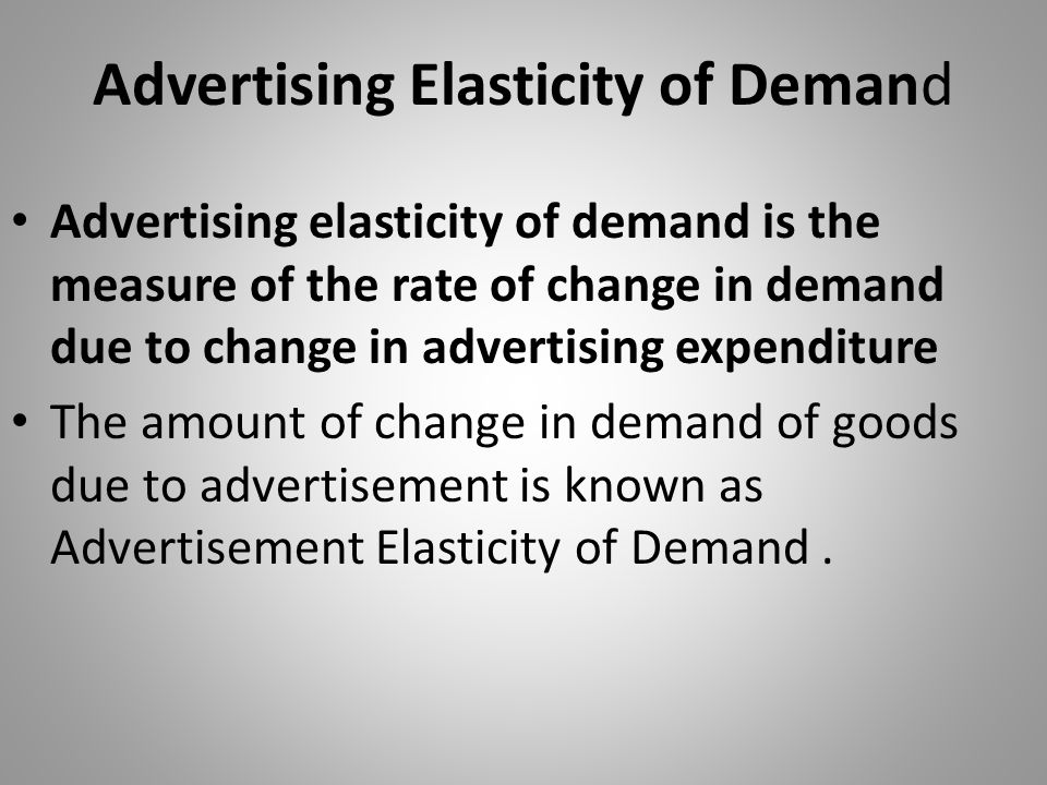Advertising Elasticity of Demand