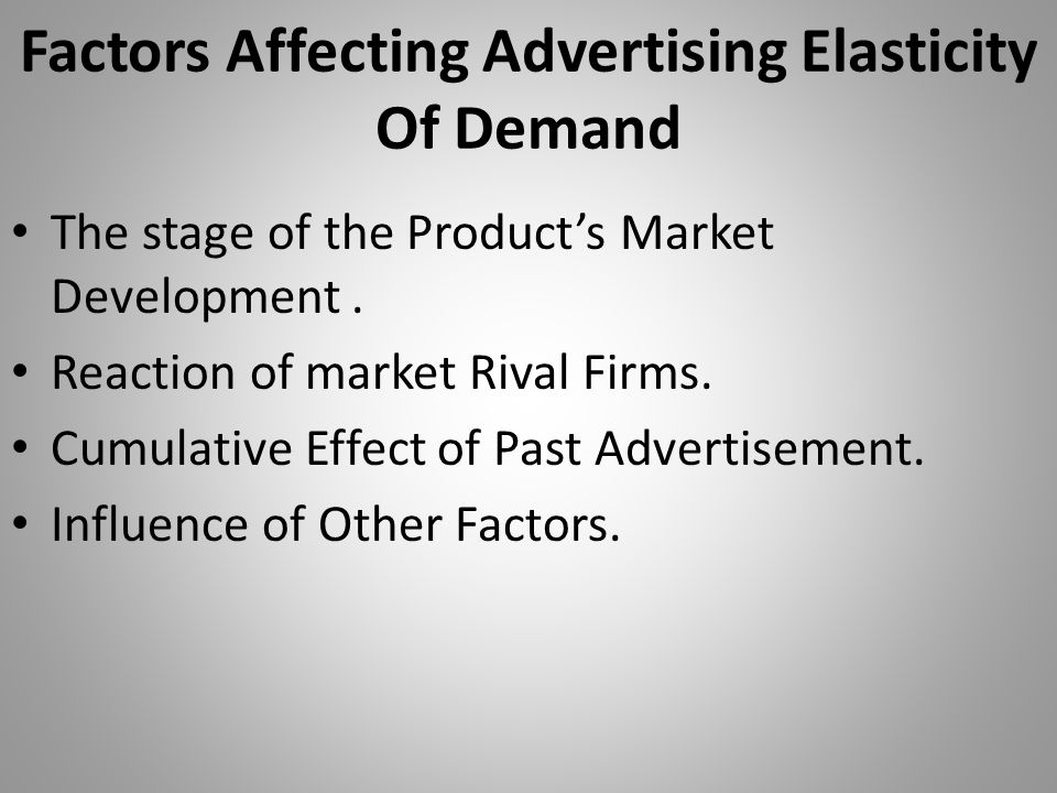 Factors Affecting Advertising Elasticity Of Demand