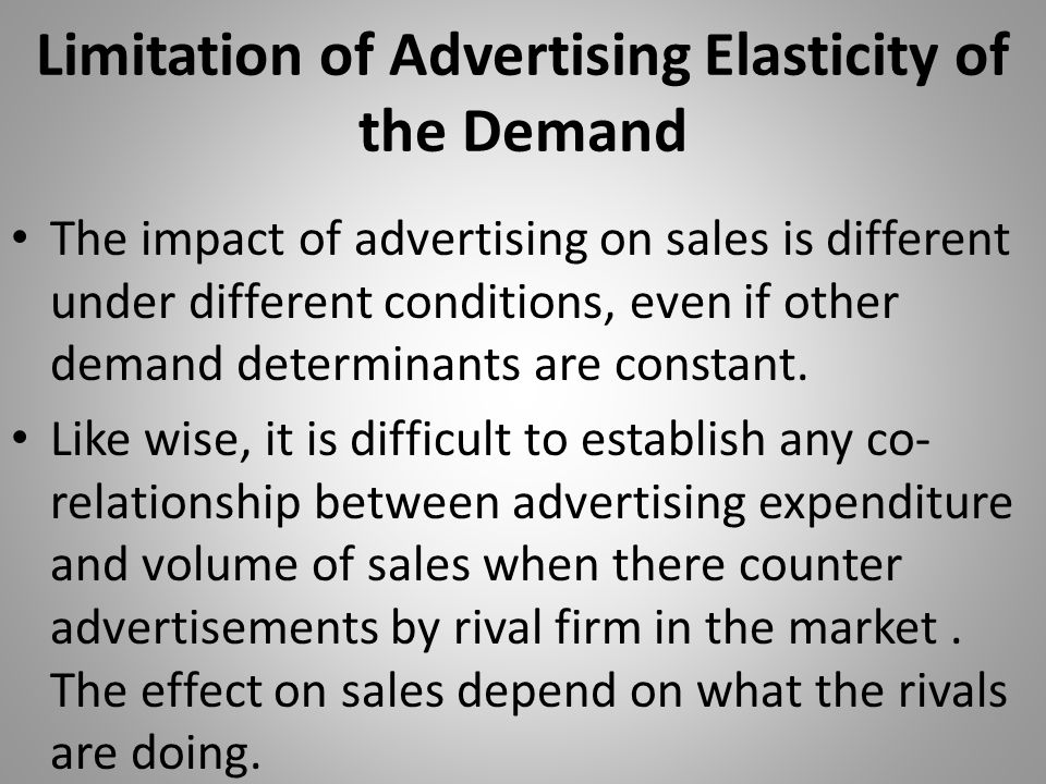 Limitation of Advertising Elasticity of the Demand