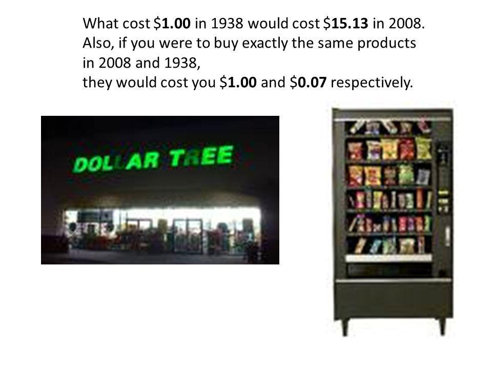 What cost $1. 00 in 1938 would cost $15. 13 in 2008