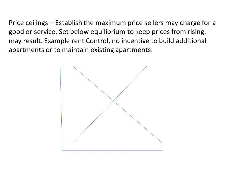 Price ceilings – Establish the maximum price sellers may charge for a good or service.